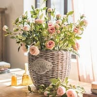 "G Home Collection Rustic Silk Rose Bloom and Bud Stem in Light Pink and Champagne Pink 39"" Tall"