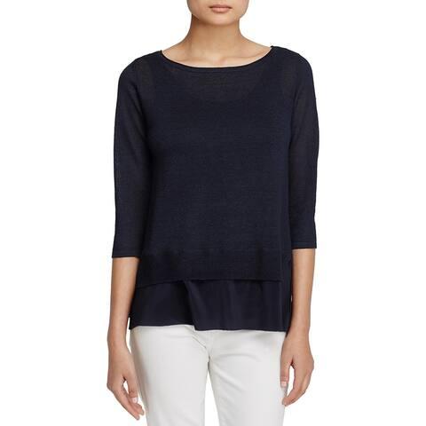 Eileen Fisher Womens Tunic Sweater Linen Blend Silk Trim