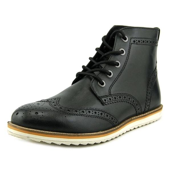 Crevo Boardwalk Men Wingtip Toe Leather Black Boot