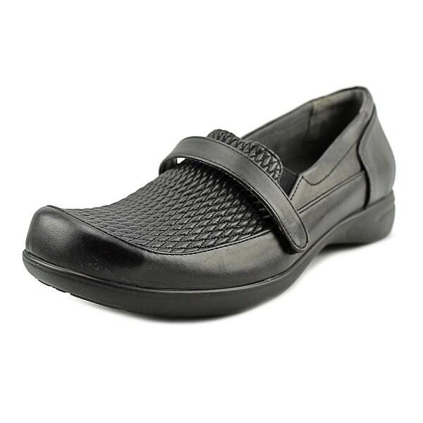 FootSmart April Women W Round Toe Leather Black Loafer