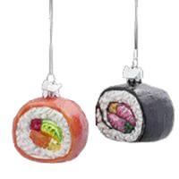 Pack of 8 Asian Fusion Noble Gems Glass Sushi Christmas Ornaments - multi