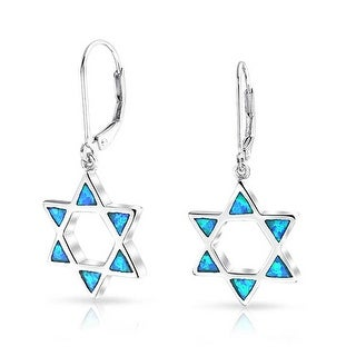 Star of David Lab Created Blue Opal Open Rhodium Plated Silver Leverback Earrings