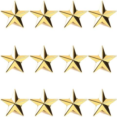 12pcs 3D Gold Star Brooch Lapel Pins Badges for Memorial Day and Theme Party
