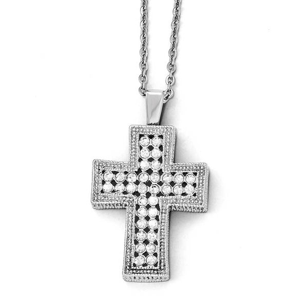Chisel Stainless Steel Polished with Crystal Cross Necklace - 24 in