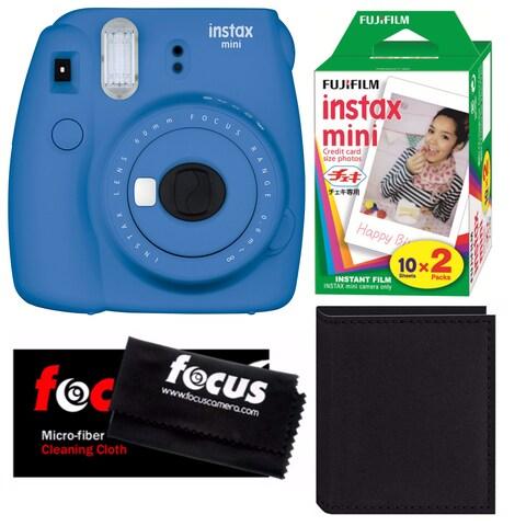 Fujifilm Instax Mini 9 (Cobalt Blue) w/ 2 Pack Film & Accessory Bundle