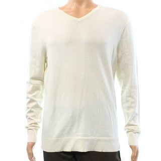 Alfani Solid White Ivory Vanilla Mens Size XL V-Neck Sweater