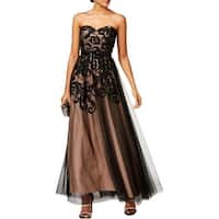 Betsy & Adam Womens Evening Dress Strapless Full-Length