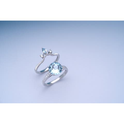 14K WG Aquamarine & Diamond Bridal Set Ring by Anika and August - White
