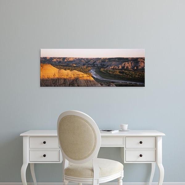 Easy Art Prints Panoramic Image 'Little Missouri River, Badlands, Theodore Roosevelt Park, North Dakota' Canvas Art