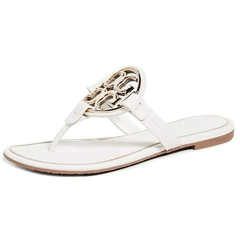 Tory Burch Womens Bleach Gold Flats Sandals Thong
