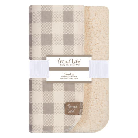 Trend Lab Gray and Cream Buffalo Check Flannel and Faux Shearling Blanket