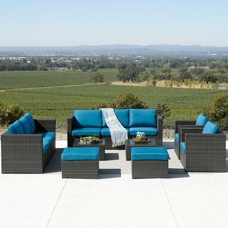 Link to Corvus Trey 12-piece Wicker Patio Sofa Set with Glass Top Similar Items in Outdoor Arm Chairs
