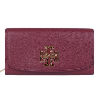 Tory Burch Britten Duo Envelope Continental Red Leather Wallet