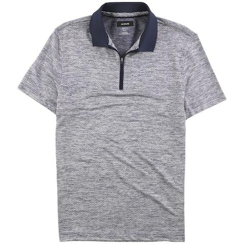 Alfani Mens Mush-Print Rugby Polo Shirt, Blue, Small