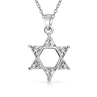 Trillion CZ .925 Sterling Silver Star of David Pendant