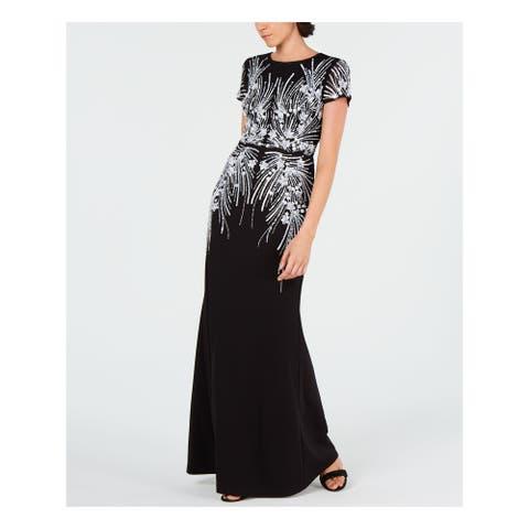 ADRIANNA PAPELL Black Short Sleeve Full-Length Dress 4