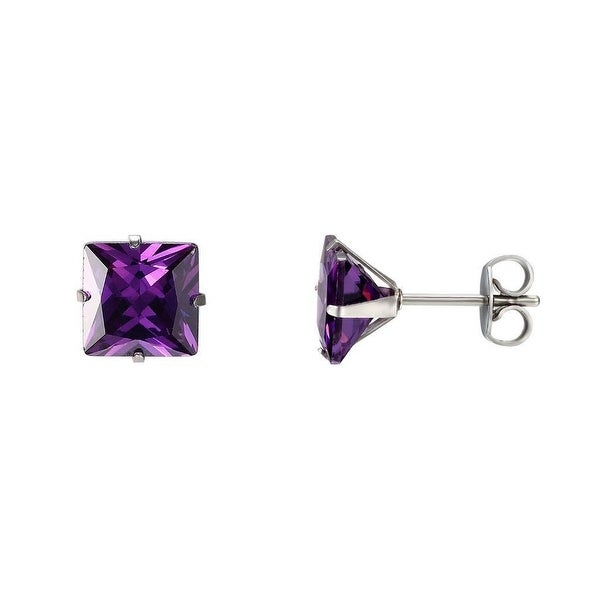 Stainless Steel Princess Cut Earrings Purple CZ Solitaire Studs Mens Women 4mm