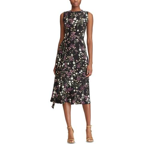American Living Womens Halidon Midi Dress Floral Side Tie - Black Multi