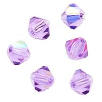 Preciosa Czech Crystal 4mm Bicone Beads 'Violet AB' (50)