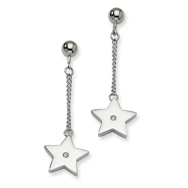 Chisel Stainless Steel Polished Stars with CZ Post Dangle Earrings