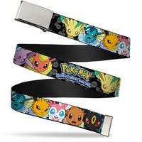 Blank Chrome  Buckle Pokemon Eevee Evolution Close Up Faces Poke Ball Web Belt - S