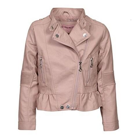 Urban Republic Girls Pink Faux Leather Motorcycle Jacket