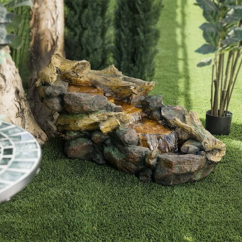 Alpine Corporation River Rocks and Logs Fountain with Cool White LED Lights