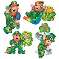 "Club Pack of 48 Leprechaun Cutouts St. Patrick's Day Decorations 14"" - Green"