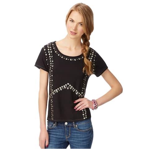 Aeropostale Womens Studded Scoop Neck Embellished T-Shirt