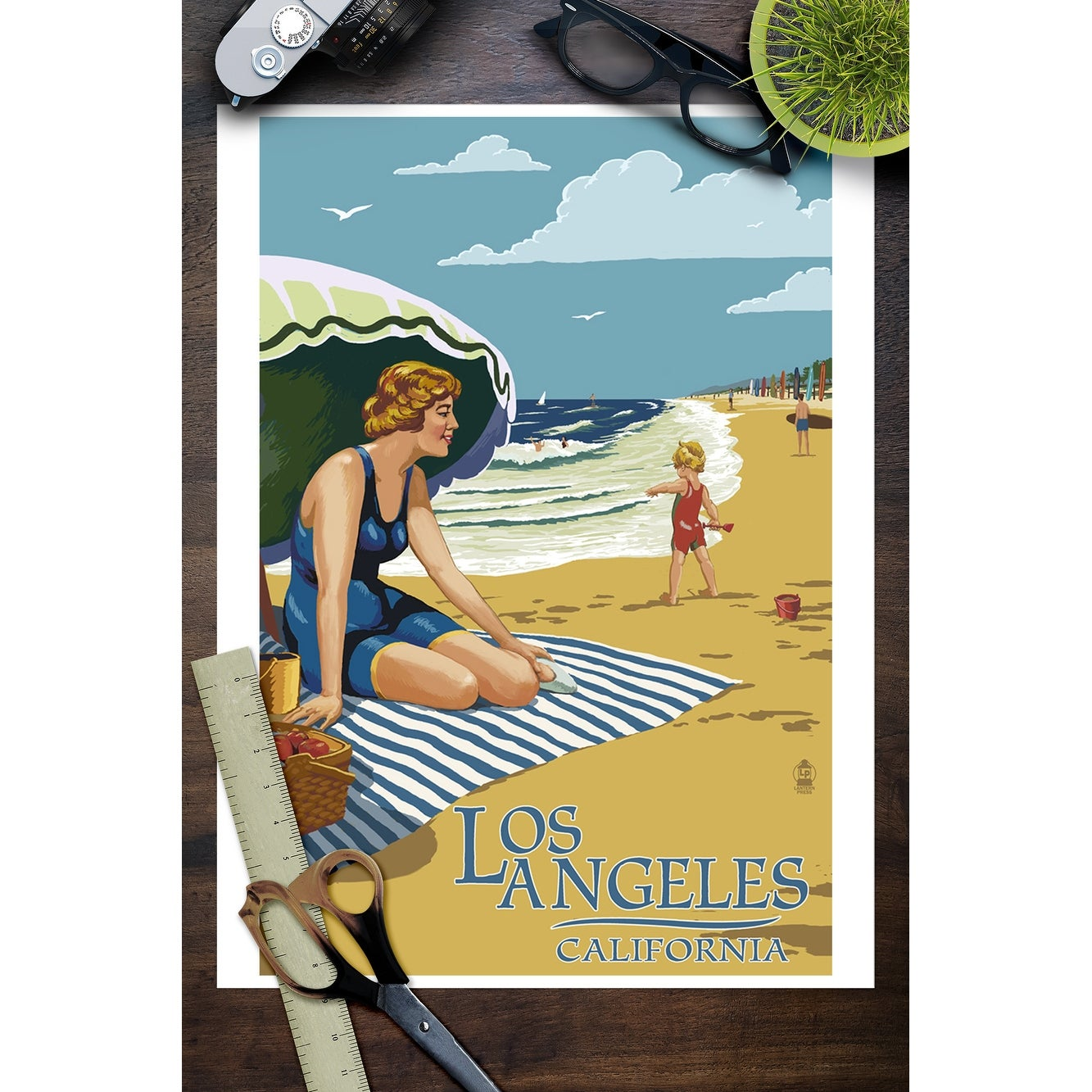 Los Angeles, California - Woman on the Beach - Lantern Press Poster (Art  Print - Multiple Sizes Available) - 9 x 12 Art Print