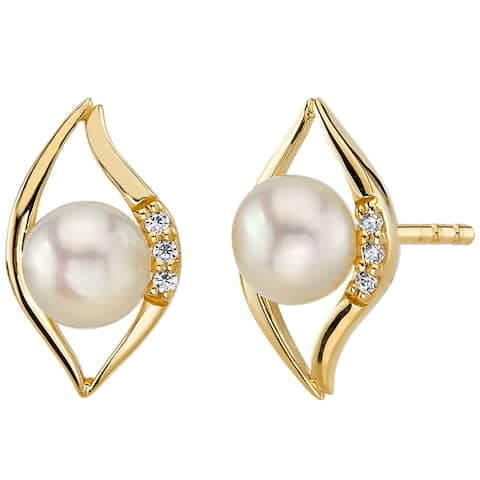 14K Yellow Gold Freshwater Pearl Leaf Design Stud Earrings