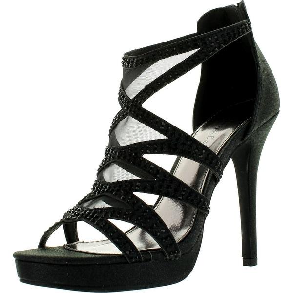 Bonnibel Bling-2 Womens Glitter Mesh Back Zip Stiletto Dress Sandals