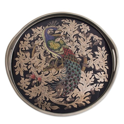 """Handmade Mystic Peacock In Silver Reverse-Painted Glass Tray (Peru) - 2.4"""" H x 17.75"""" Diam."""