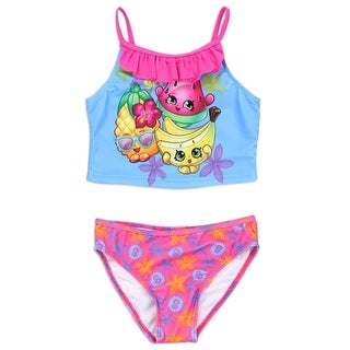 Shopkins Little Girls Blue Pink Cartoon Character Ruffle 2 Pc Swimsuit