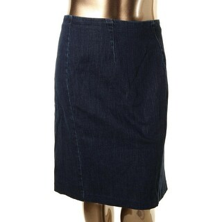 Lauren Ralph Lauren Womens Plus Straight Skirt Denim Faux Leather Trim