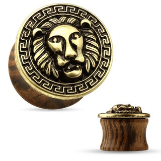Lion Center and Maze Antique Gold Plated Organic Wood Saddle Plug (Sold Individually) (5 options available)