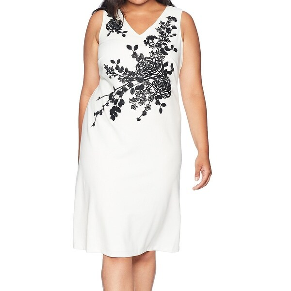 2f20590e9789 Calvin Klein White Women's Size 16W Plus Embellished Sheath Dress