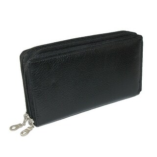 Paul & Taylor Leather Double Zippered Checkbook Cover Wallet - One size