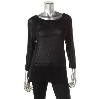 Lauren Ralph Lauren Womens Cotton Raglan Sleeves Pullover Top - L