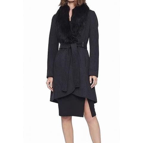 Calvin Klein Women's Coat Black Size 16 Faux-Fur Belted Snap-Front