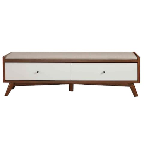 Fabric Upholstered Wooden Bench with 2 Drawers, Brown and White