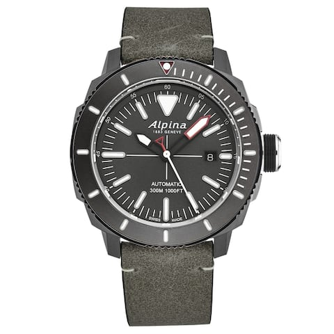 Alpina mens 'seastrong diver' grey dial grey leather automatic watch al525lggw4tv6