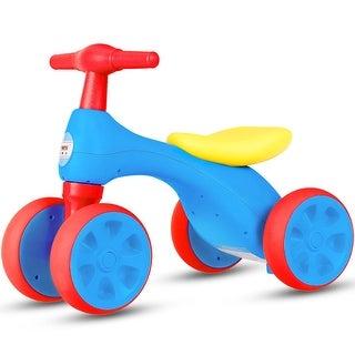 Costway Baby Balance Bike No Pedal Bicycle Children Walker 4 Wheels w/ Sound & Storage - Blue