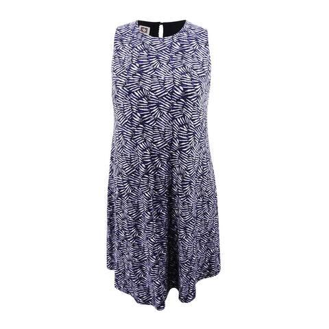 d1fc061c5e91 Anne Klein Women's Printed Sleeveless Swing Dress - Black/Eton Blue Combo