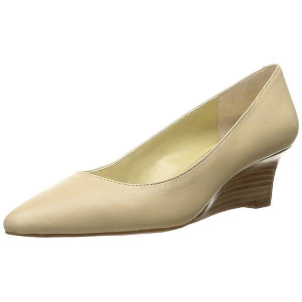 LAUREN by Ralph Lauren Womens Haidee Leather Pointed Toe Wedge Pumps