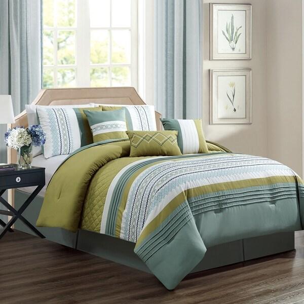 Porch & Den Marconi Green/ Blue Microfiber 7-piece Comforter Set
