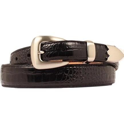 Nocona Western Belt Mens Leather Gator Tapered Black
