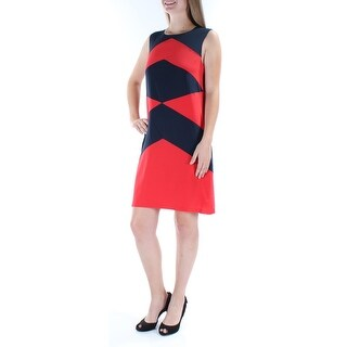 DKNY $295 Womens New 5833 Red Color Block Sleeveless Shift Dress M B+B