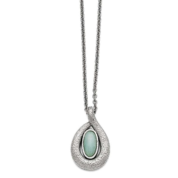 Chisel Stainless Steel Polished/Textured Synthetic Dyed Jade with 2in ext. Necklace - 18 in