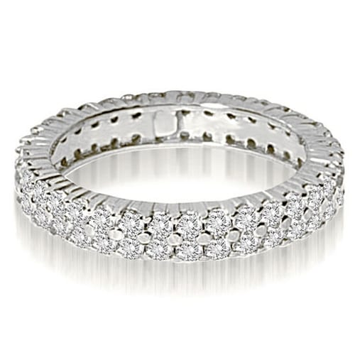 1.70 cttw. 14K White Gold Round Two Row Prong Diamond Eternity Ring